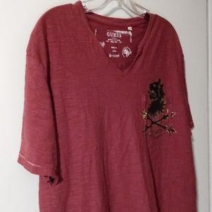 Guess Burgundy Short Sleeve Men's Tee Shirt